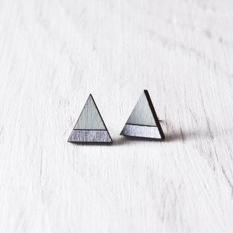 Сережки треугольники, Серьги голубые гвоздики