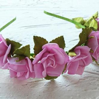 """Ободок """"Розовые розы"""""""
