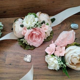 Комплект бутоньерок кремово-розовый Бутоньерка для жениха Бутоньерка на руку для свидетельницы