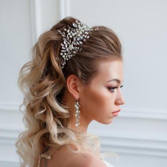 Свадебный набор украшений: ободок и сережки