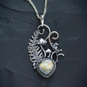 Срібний жіночий кулон з лабрадоритом