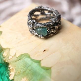 кольцо Серебристые волны, апатит, кристалл