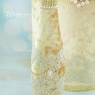 Свадебное шампанское золотое / Оформление шампанского / Весільне шампаське золоте