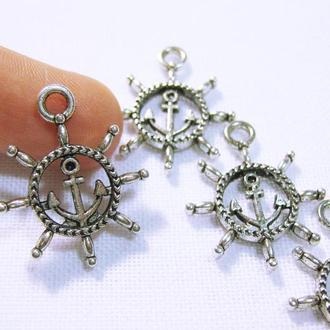 Металлическая подвеска Якорь Штурвал античное серебро