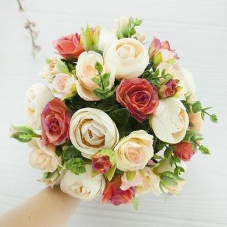 Букет-дублер кораловый / Букет-дублер для весілля кораловий / Букет нареченої / Букет дружкам