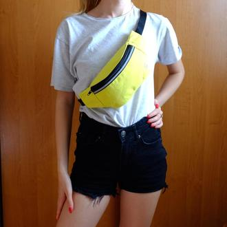 Сумка-бананка джинсовая желтая, поясная сумка 41//Сумка-бананка джинсова жовта, поясна сумка 41