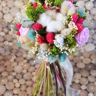 Свадебный/интерьерный букет из сухоцветов и стабилизированных цветов