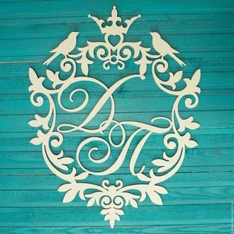 монограмма на свадьбу, Свадебная монограмма, герб свадебный, инициалы из дерева