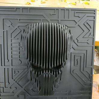 "3д декор на стену, тема ""Predator mask"""