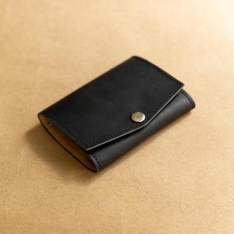 Черный мини кошелек из натуральной кожи
