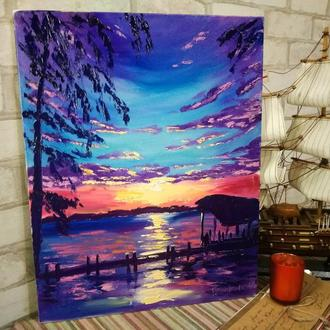 Картина маслом закат на море