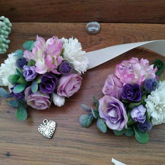 Комплект бутоньерок Purple Wedding Бутоньерка для свидетеля Бутоньерка на руку для свидетельницы