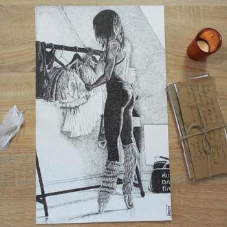 """Рисунок графика в стиле пуантелизм """" Балерина в гримерке"""""""