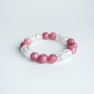 Браслет из родонита и горного хрусталя (модель № 456) JK jewelry