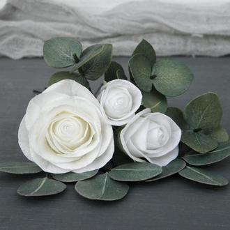 Шпильки для волос с розами и листьями эвкалипта