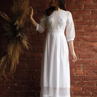 свадебное вышитое платье, длинное платье вышиванка с кружевом бохо
