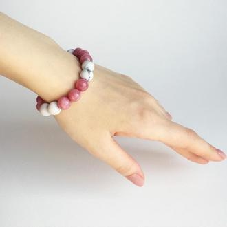 Браслет из родонита и кахолонга (модель № 457) JK jewelry