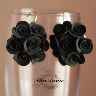 """Серьги с розами из полимерной глины """"элегантный черный"""""""