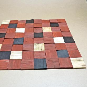 """Панно деревянное """"3D плитка 80"""" коралл-бенгала-венге"""
