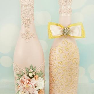 Свадебное шампанское пудровое / Оформление шампанского / Весільне шампаське пудрове