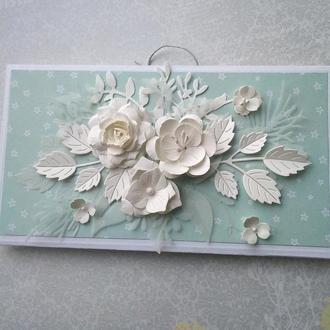 Конверт для денег Белые цветы