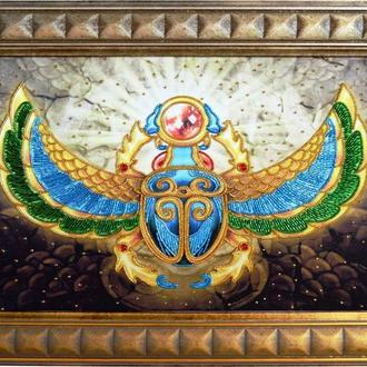 Золотое притяжение.Картина вышитая бисером и декоративными элементами