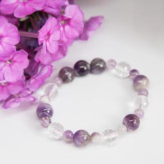 Женский браслет аметист, браслет из натуральных камней, фиолетовый браслет