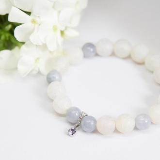 Женский браслет с кристаллом Swarovski, браслет из агата и ангелита, подарок девушке