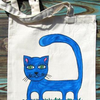 """Еко сумка """"Кіт""""- синій"""