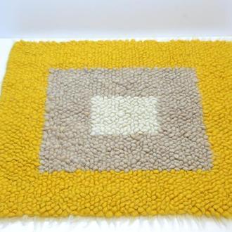 Ковер из овечьей шерсти 0,9 × 0,8 м Желтый (KB013m)