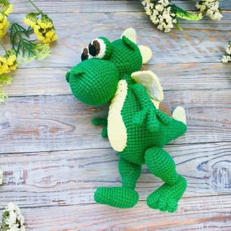 Дракончик, динозавр, вязаная экоигрушка