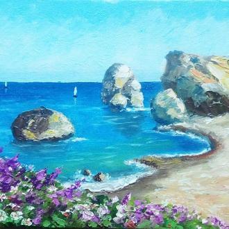 """Картина маслом море """"Природа Кипра"""" синий, бирюзовый"""