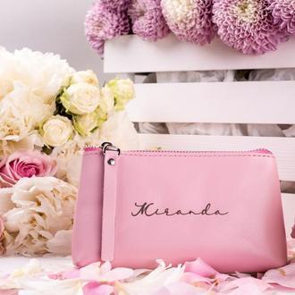 Дорожняя косметичка, женская косметичка, кожаная косметичка розовом цвете | 1_0020S_ADL