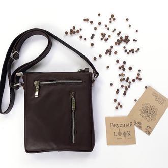"""Кожаная сумка через плечо """"Душистый перец"""", коричневая, мужская сумка, маленькая сумка"""