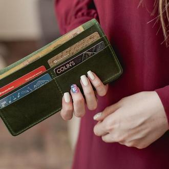 Женский кожаный кошелек Vinsent, большой кошелек-клатч из натуральной кожи зеленый