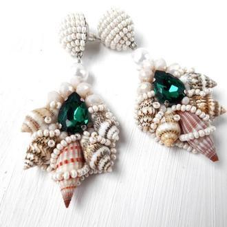 Серьги с ракушками и кристаллами, Свадебные серьги для невесты, бежевые бисерные серьги