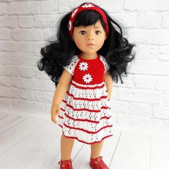 Плаття на Готц 50 см червоно-білий в смужку, подарунок дівчинці