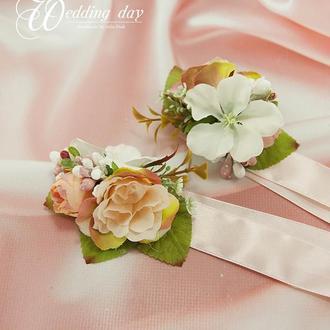 Бутоньерки для свидетелей на руку / Пудровые бутоньерки / Цветы для свадьбы / Персиковые цветы