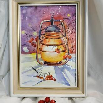 Картина ′ Зимове світло ліхтаря′ Акварель