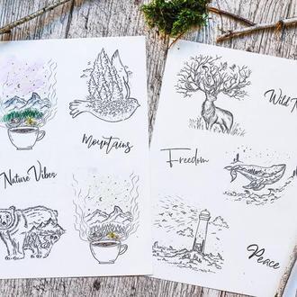 Стикеры с Иллюстрациями (наклейки)