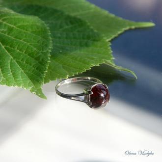 Серебряное кольцо с гранатом, кольцо с гранатом, перстень с гранатом, кольцо с камнем