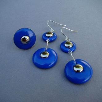 Комплект синий серьги + кольцо