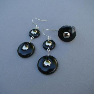 Комплект черный серьги + кольцо