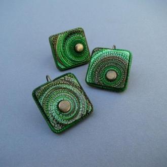 Комплект Зеленые квадраты серьги + кольцо