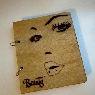 "Деревянный блокнот ""Beauty"" (на кольцах), подарок визажисту стилисту косметологу бровисту"