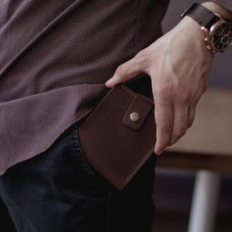 Небольшой мужской кожаный кошелек Alonso из натуральной кожи_шоколад, мужское карманное портмоне