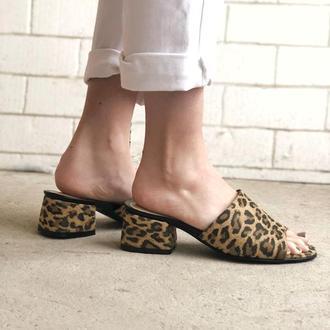 Мюли шлепанцы, анималистический принт, леопард,36-40