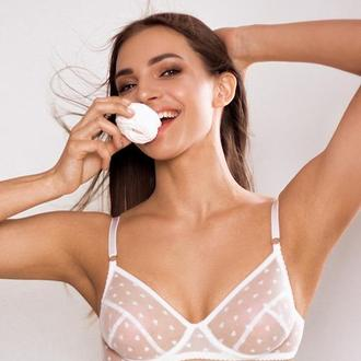 Белый  бюстгальтер с косточками - Easy erotic, прозрачный лиф из сетки с косточками