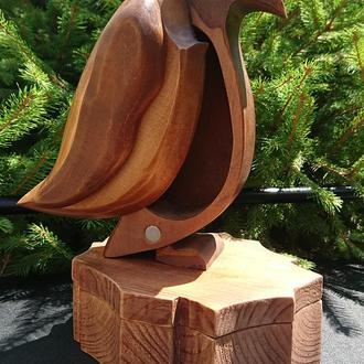Статуэтка-шкатулка 2 в 1: Пингвин на льдине (дерево)