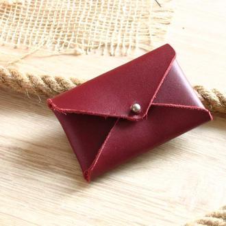 Минималистичный кардхолдер. Подарок женщине из натуральной кожи
